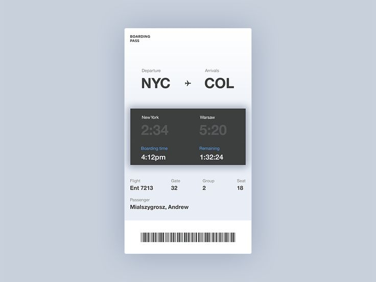 Boarding Pass by mialszygrosz—The Best iPhone Device Mockups → store.ramotion.com