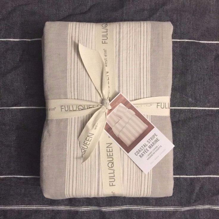 West Elm Coastal Stripe Queen duvet cover and Sham Frost Gray Cotton Linen #WestElm
