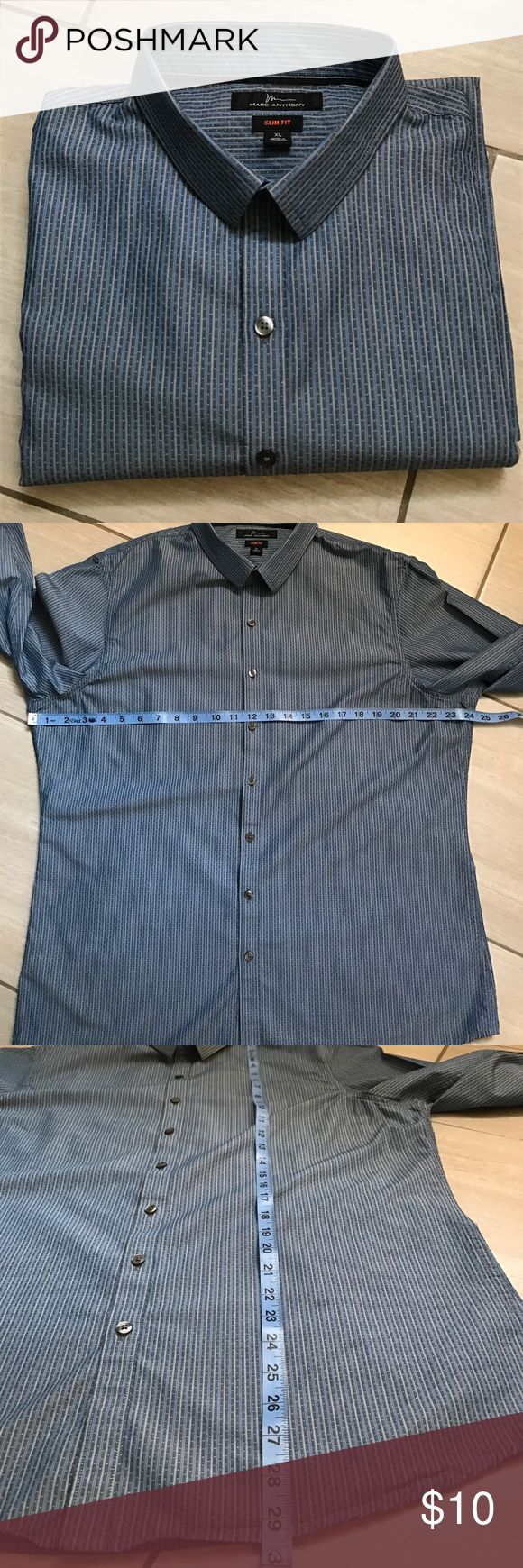 """Marc Anthony men's slim fit dress shirt EUC men's slim fit dress shirt 💯 cotton. Long sleeve with a 31"""" arm length size XL. This has a very handsome pine stripe pattern. From a smoke free home. marc Anthony  Shirts Dress Shirts"""