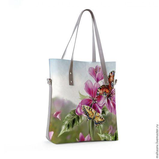 Женские сумки ручной работы.  Сумка тоут Бабочки большие.