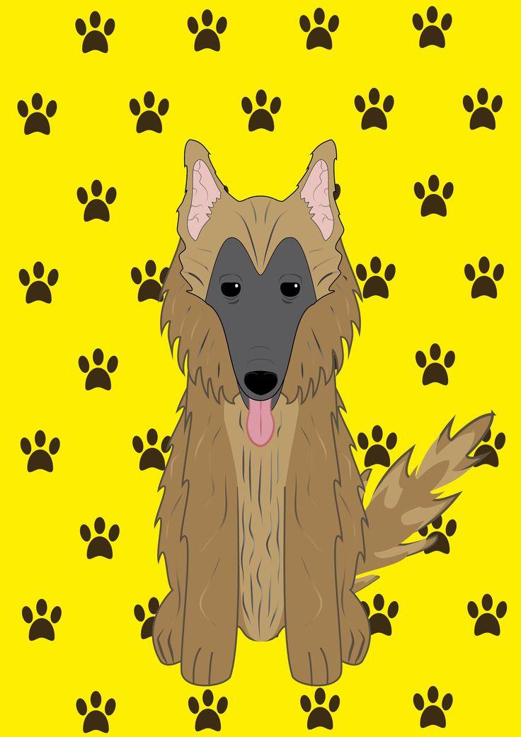 Ilustración de un perro pastor belga tervuren.