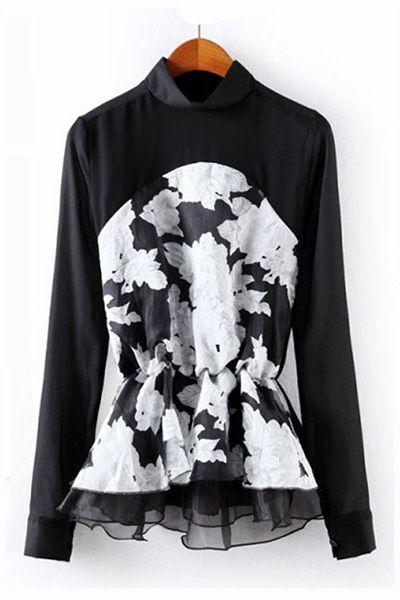 #persunmall Flower Print Organza Stiching Chiffon Shirt [FDBI00633] - PersunMall.com