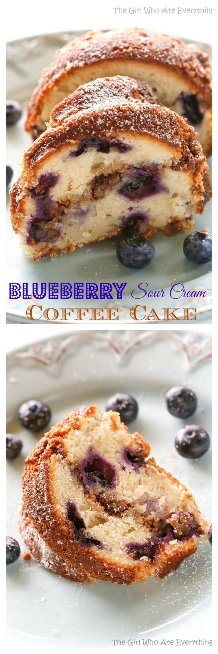 Are you ready for the moistest, dense and rich Blueberry Sour Cream Coffee Cake with a cinnamon brown sugar filling? This is one decadent breakfast or brunch treat! the-girl-who-ate-everything.com