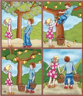 """Составь рассказ по картинкам """"Работа в саду"""""""