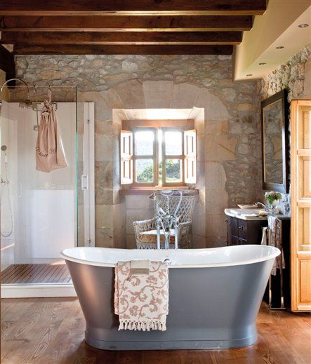 Stone, Interior Design, Bathroom, Decor Maison, Master Bath, Relax,  Exterior, Freestanding Bath, Rock