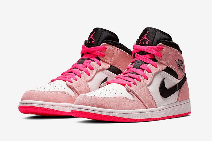 The Air Jordan 1 Mid Goes Full,Pink with \u0027Crimson Tint