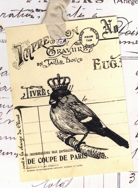 bird with a crown, vintage font
