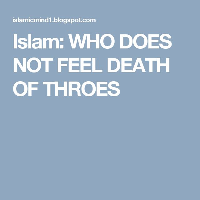 Islam: WHO DOES NOT FEEL DEATH OF THROES