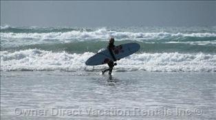 Surfing Chesterman Beach in Tofino, BC