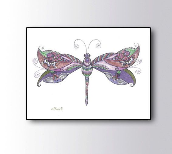 Colored pencils art, Purple Dragonfly Drawing Wall decor, Abstract Zentangle Floral Art Large Print, Unique Dragonfly Poster Baby Room Decor by DHANAdesign on Etsy