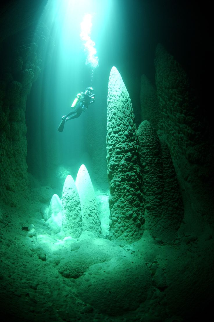 Deep sea diving in underwater caves, Mexico