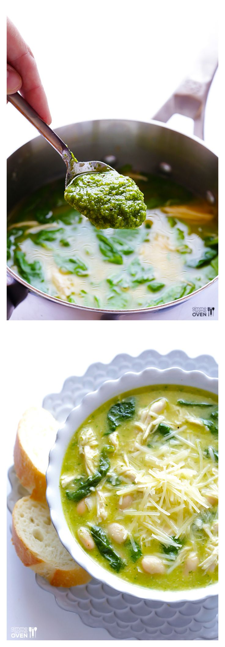 5-Ingredient Pesto Chicken Soup -- simple to make, and full of those fresh pesto flavors we all love! | gimmesomeoven.com #soup #chicken