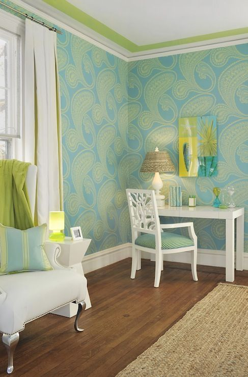 Gorgeous turquoise blue and green teen girl 39 s bedroom with for Turquoise wallpaper for bedroom