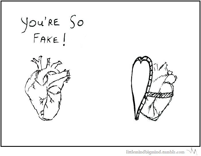 #28 Fake http://littlemindbigmind.tumblr.com/post/155403999341/28-fake #heart #hearts #love #irony #fake #littlemindbigmind #webcomic #comic #webcomics #comics