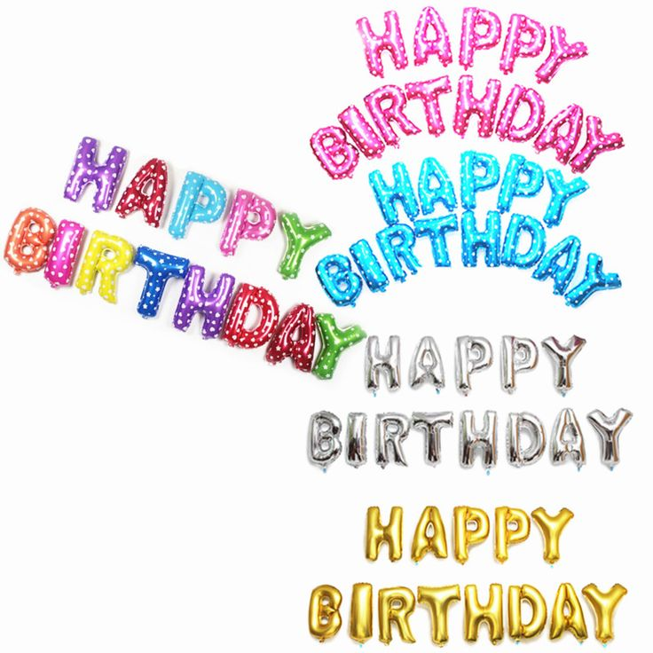Darmowa wysyłka newgold-srebrny-Różowy-Niebieski-wielokolorowe litery Z Okazji Urodzin Balony 13pcs-lots lettersBalloons