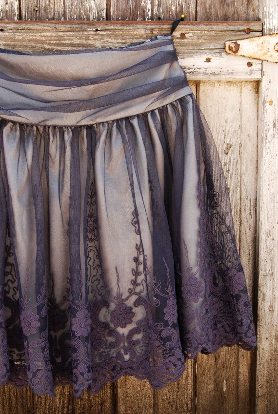 Faded blueberry tulle and lace ~ Fox'n Lily: Purple Skirts, Tulle Skirts, Pretty Skirts, Lace Details, Blueberries Tulle, Purple Lace, Faded Blueberries, Lace Skirts, Bridesmaid Skirts