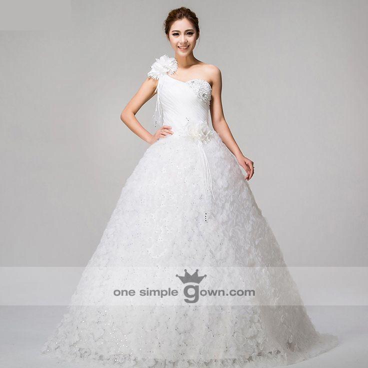 Fabulous One Shoulder Lace Sequins Floor Length Ball Gown Wedding Dress