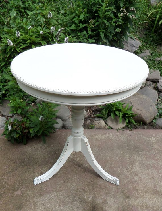 Off White Pedestal Table Vintage Pedestal Table by TheRusticRiver