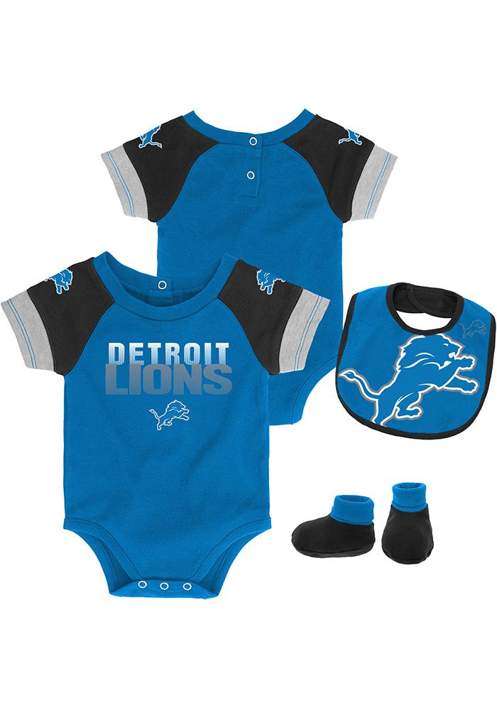 59853bc7 Detroit Lions Baby Blue 50 Yard Dash Set One Piece with Bib ...