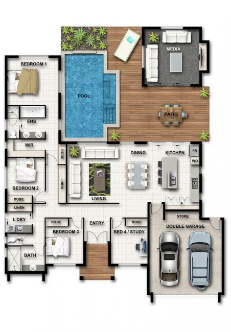 Take out one bedroom making master larger