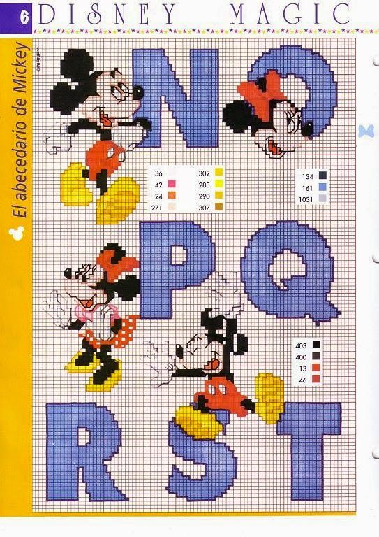 PATRONES PUNTO DE CRUZ GRATIS: Gráficos abecedario completo de Mickey y Minnie a punto de cruz