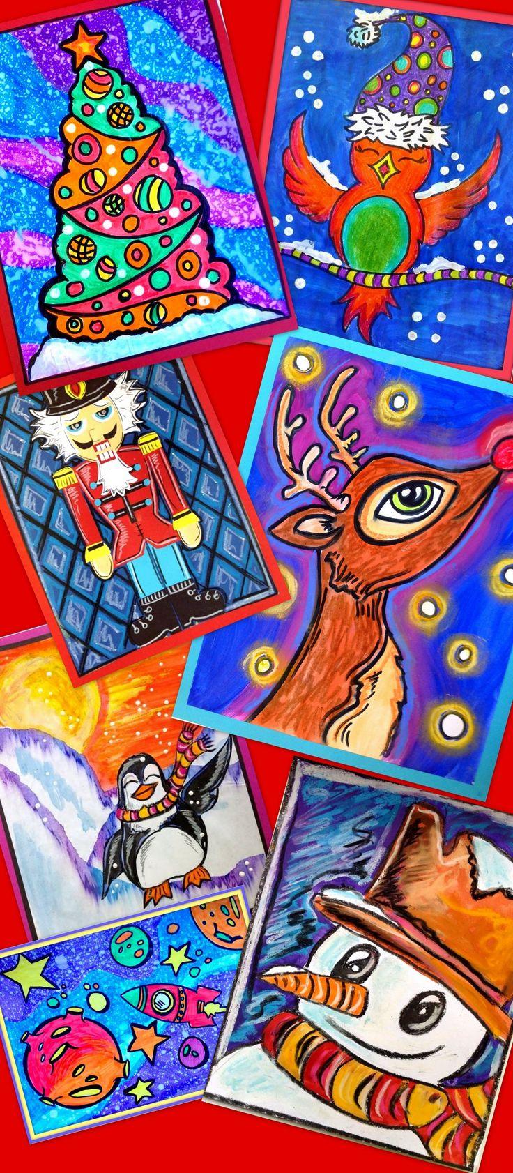 Voici quelques projets d'arts plastiques créés pour vous. Démarche complète avec photo et grille d'évaluation comprise. Le tout, sur mieuxenseigner.ca ! Pour éducation, arts plastiques, Noël et hiver.