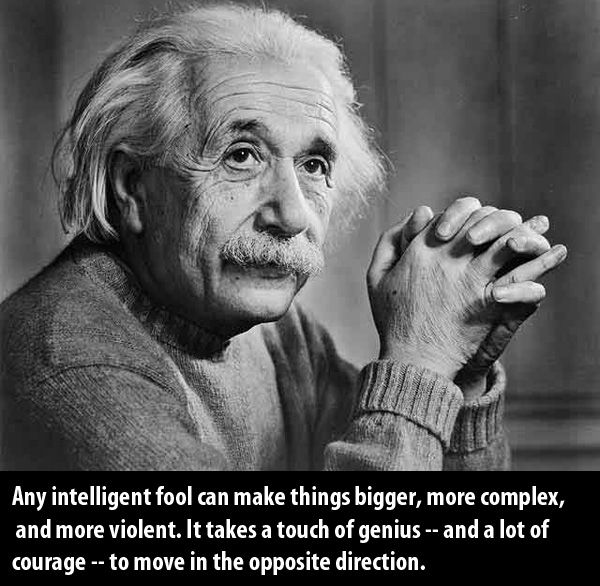 """An intelligent fool can make things bigger, more complex, and more violent. It takes a touch of genius -- and a lot of courage -- to move in the opposite direction."" Albert Einstein"