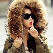 Зима большой размер военная пальто женский Корейский реального енота меховым воротником пуховик женщин сгустите сплошной цвет прилив куртка MZ1124(China (Mainland))
