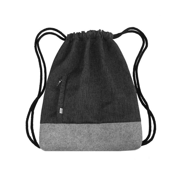 BACKPACK Drawstring Bag Felt Sack Bag Hipster Backpack with Dark Gray Thick Canvas and Light Gray Felt two Zipper-Closed Pockets by PurolDesignBags on Etsy