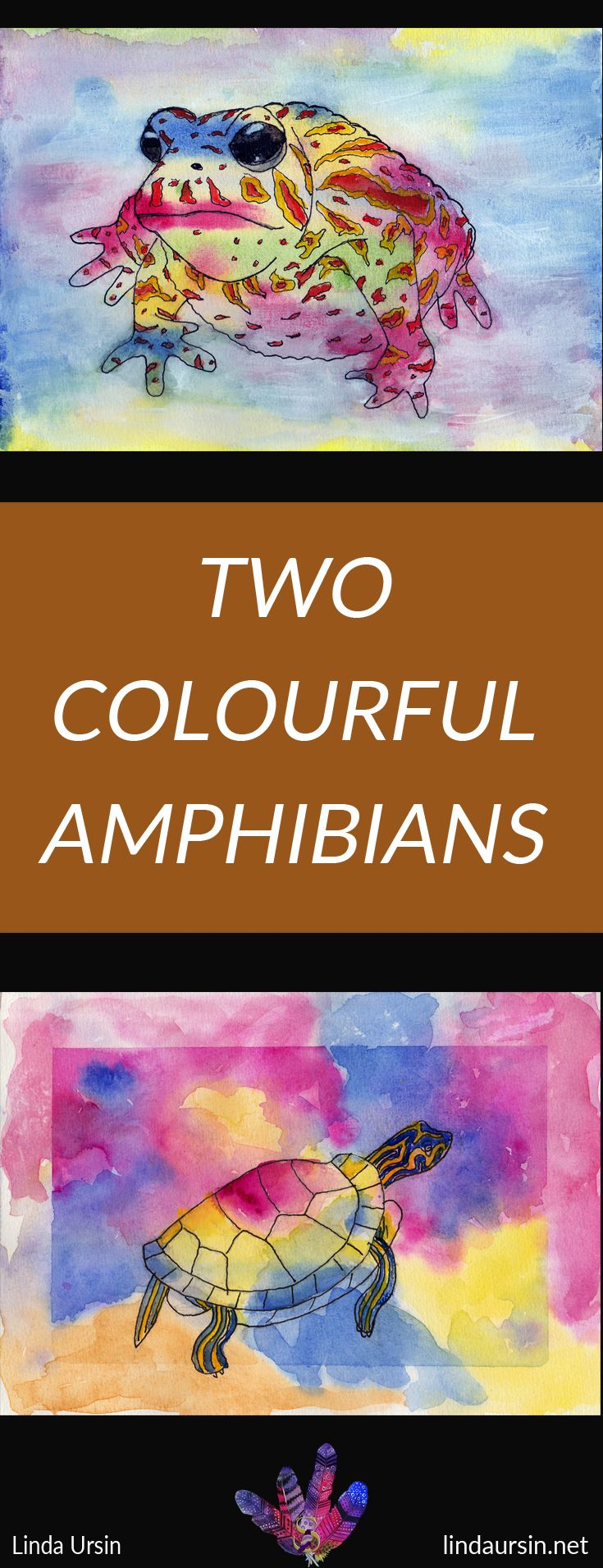 I've been playing with colour to make these smaller works featuring amphibians. A Toad and a Painted Turtle.