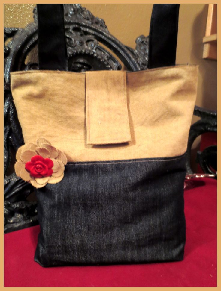 Small denim and cord tote made for a gift!