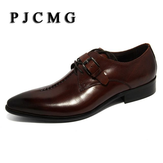 Good price 2017 oxford Shoes Deep coffee color /Dark yellow/ black mens business dress shoes genuine leather pointed toe mens wedding shoes just only $76.50 with free shipping worldwide  #menshoes Plese click on picture to see our special price for you