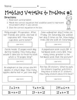 Use this FREE resource as a tool to help students practice using variables in equations to solve word problems. Enjoy!