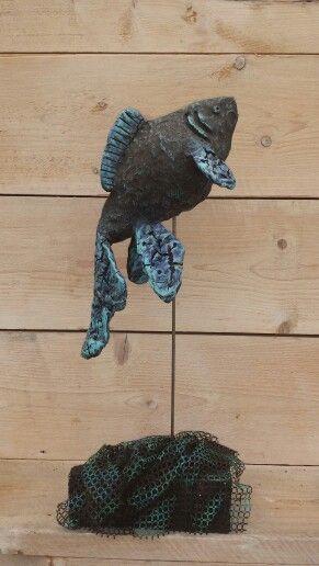 Vis gemaakt van Powertex.  Met Stone art en easy 3D flex.
