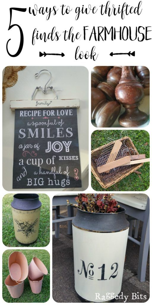 See how super easy it is to give 5 Thrifted finds a nice Farmhouse look   www.raggedy-bits.com