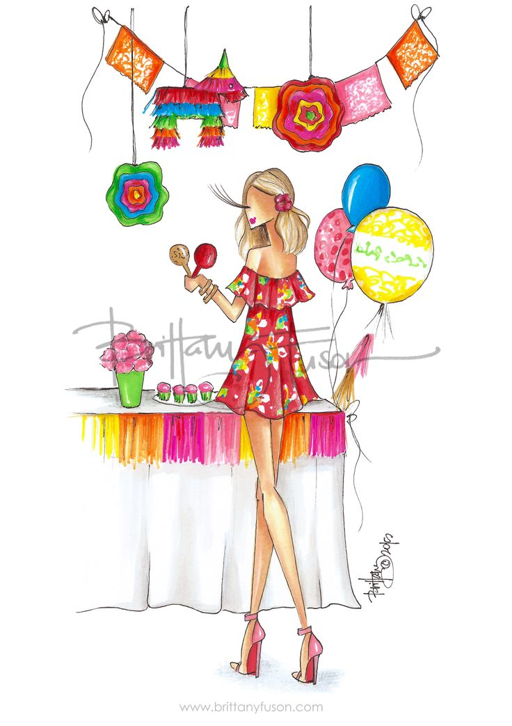 Cinco de Mayo | celebration | birthday party | sale | fashion illustration | off the shoulder dress | Brittany Fuson