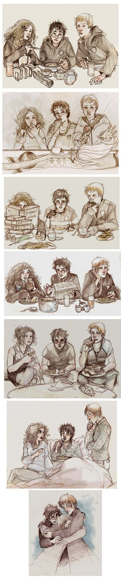 The trio-I think these drawings are more true to the books, and I love them for that. :)<<< I love this one so much. It shows how their friendship evolved; starting just in the great hall studying or eating and ending up at the Burrow all together through everything.
