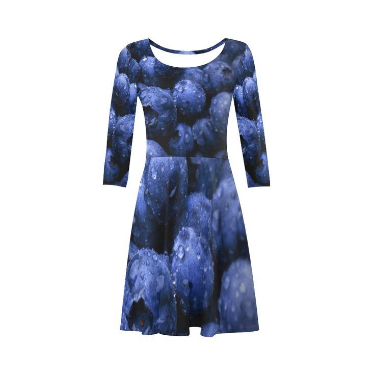 Blueberries 3/4 Sleeve Sundress. Material: 92% Polyester, 8% Spandex, well made lightweight soft fabric, skin-friendly. Sizes: XS, S, M, L, XL, XXL, XXXL.FREE Shipping. #beoriginalstore #dresses