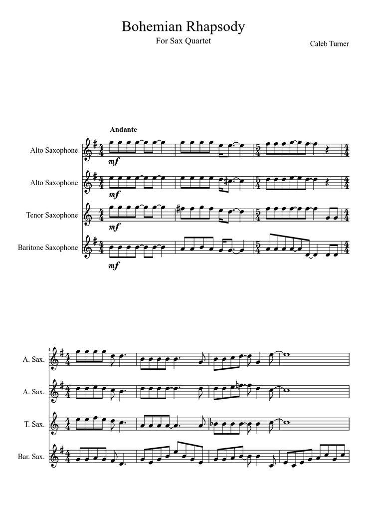 Sheet music made by caleb4hokies for 4 parts: Alto Saxophone, Tenor Saxophone, Baritone Saxophone