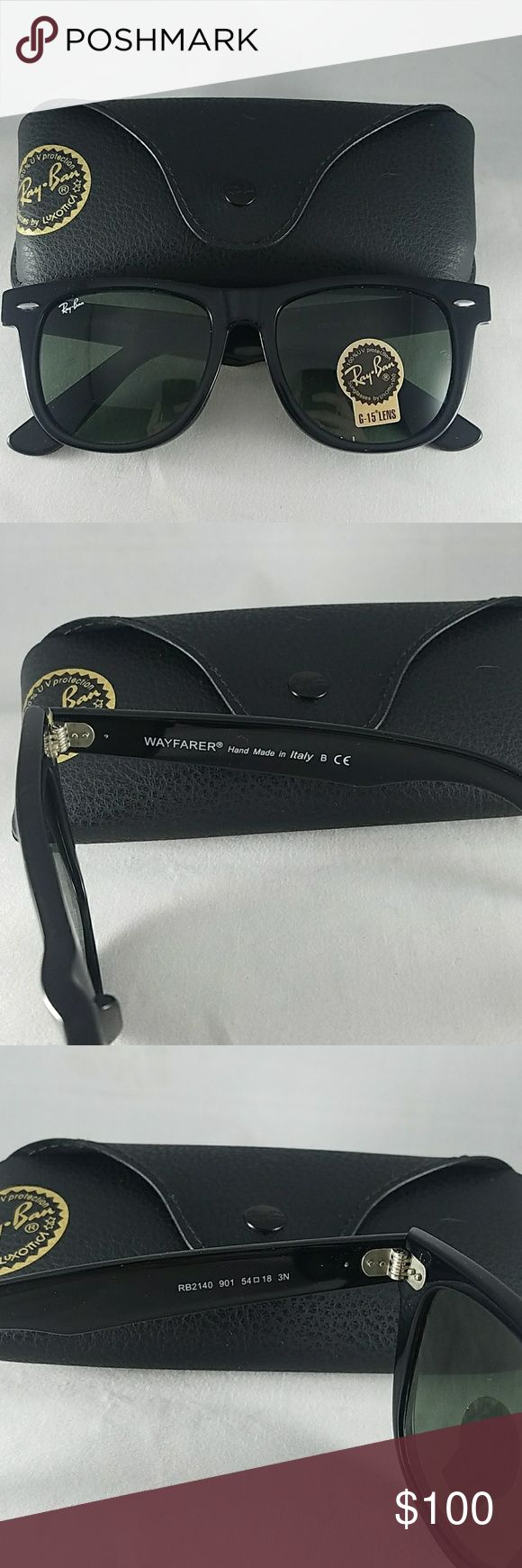 New Ray-ban Wayfarer Black Original | G-15 Lens 100% Authentic Guaranteed or your money back! Each order ships with Ray-Bans packing slip to prove authenticity when reselling online.   Sizes:  50mm 52mm 54mm   Color: Black frame, Dark Green G-15 Lens  Includes all documentation, box, cleaning cloth, case, and sunglasses! Ray-Ban Accessories Sunglasses