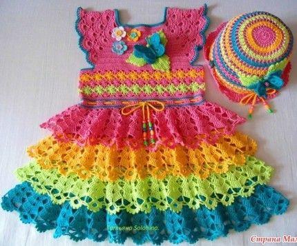Crochet For Children: Pretty Crochet Dress for Girl - Free Crochet Diagr...