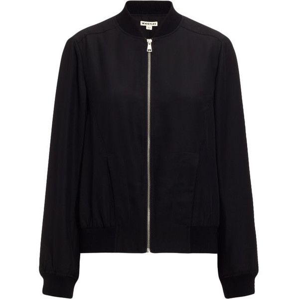 Whistles Silk Bomber Jacket (€59) ❤ liked on Polyvore featuring outerwear, jackets, coats & jackets, coats, black, bomber style jacket, whistles jacket, bomber jackets, zip front jacket and silk jacket
