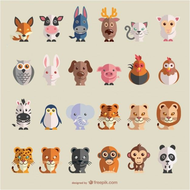 Animals flat vector set Free Vector