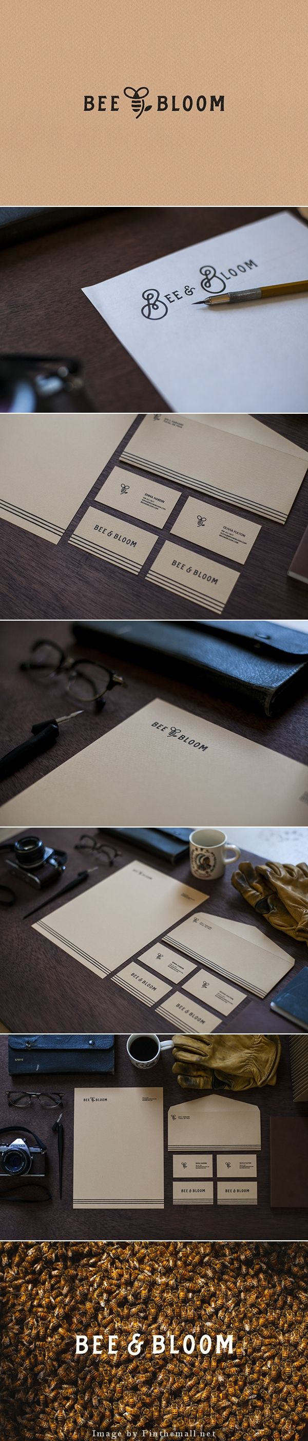 Bee and bloom branding corporate identity stationary logo letterhead business card enveloppe minimal graphic design kraft paper texture handlettering type typography
