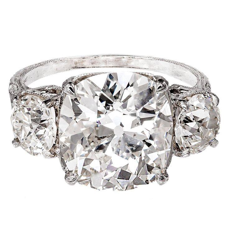 Antique Old Mine Cushion Cut Diamond Platinum Ring For
