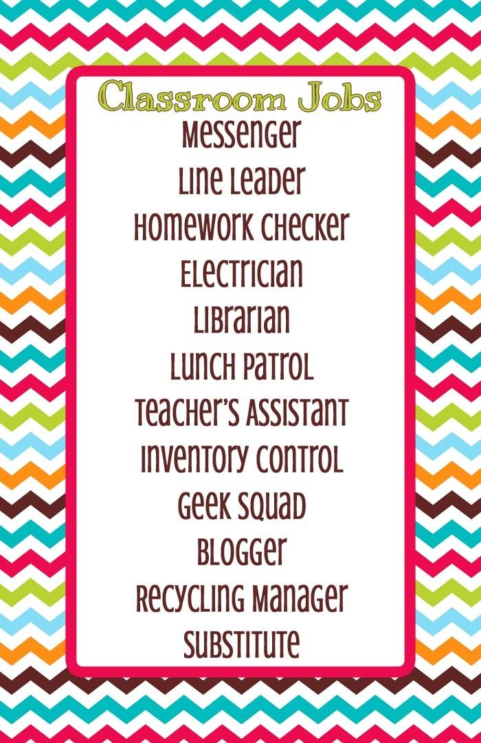 Modern Classroom Jobs ~ Every monday each child gets a new classroom job