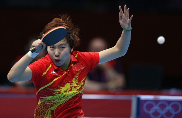 Xiaoxia Li of China competes during her Women's Singles Table Tennis Gold Medal match against Ning Ding of China on Day 5 of the London 2012 Olympic Games at ExCeL on August 1, 2012 in London, England.