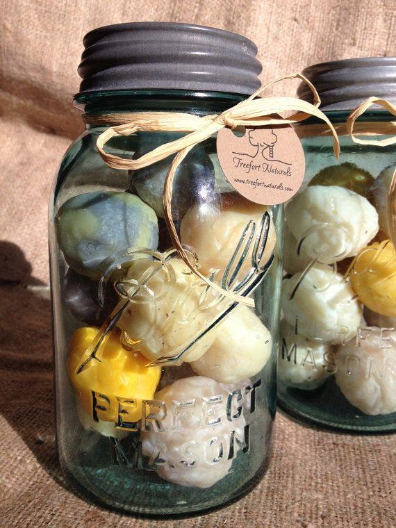 Handmade Soap Balls in a Vintage Aqua Ball by TreefortNaturals, $25.00