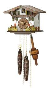 Relógio de Cuco<br>Pequena Casa da Floresta Negra com as galinhas que se deslocam