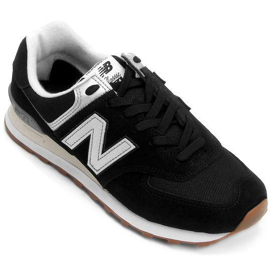 R$ 399,90  Tênis New Balance 574 - Core Couro - Preto+Branco
